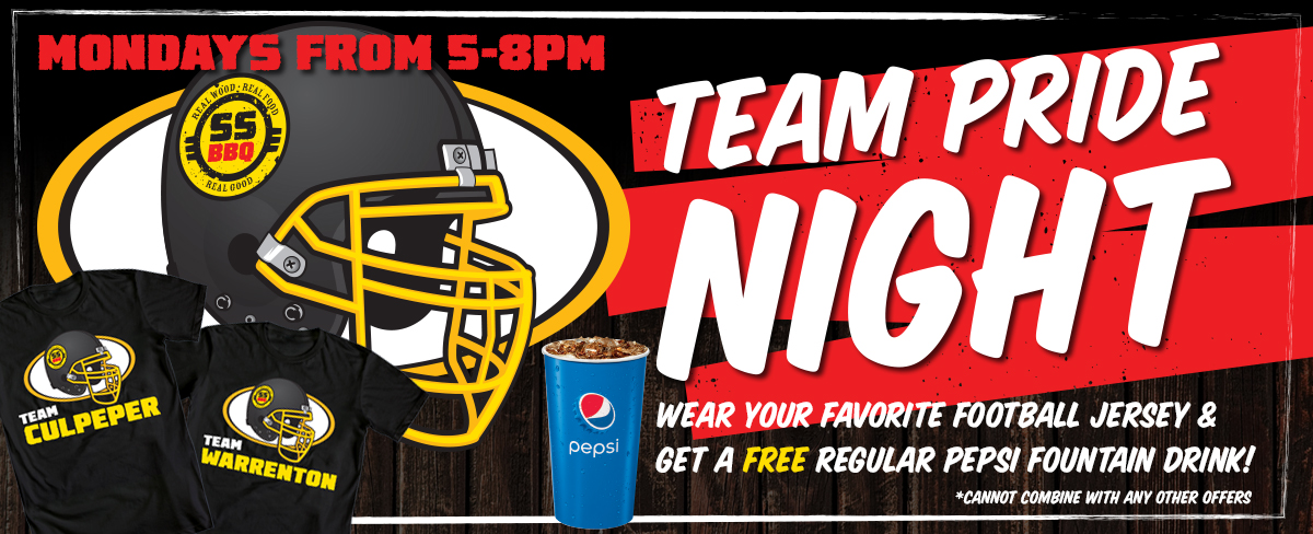Show your team spirit on Monday Nights at Shawn's BBQ. Get a regular fountain drink for free if you wear your favorite team jersey.