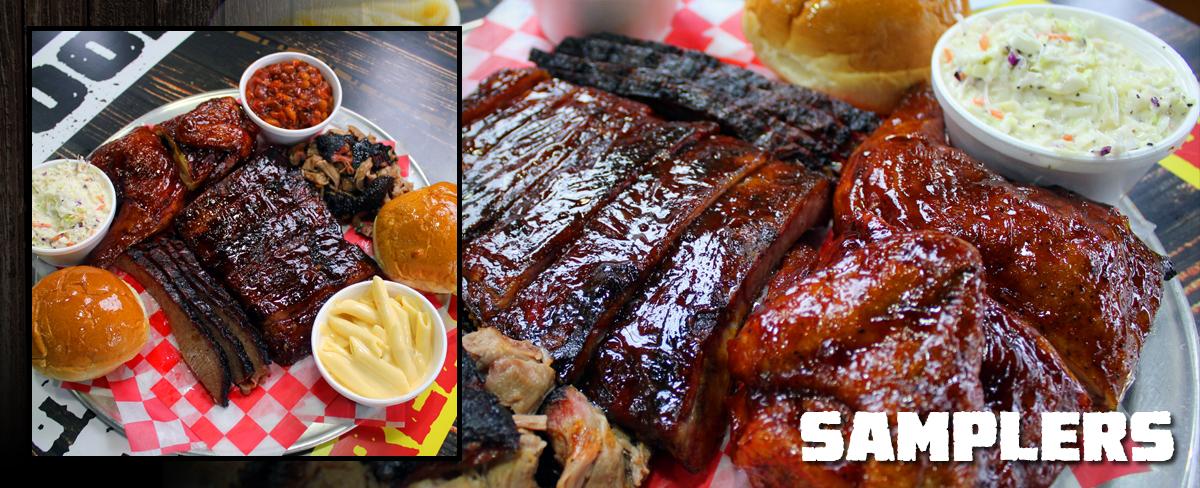 The Big Game Sampler : : 1 lb. of pork, 1 lb. of brisket, a full rack of ribs, 16 wings, 16 slider rolls, 3 quart sides, 1 gallon of Sweet Tea
